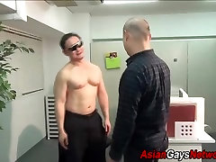 Asian twink cums tugging