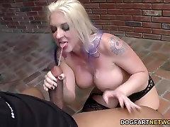 Leya Falcon sucks and deepthroats many black cocks before fucking