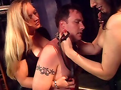 Mistresses punishing man