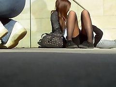 sweet college girl in black pantyhose