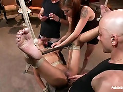 Young black girl Skin Diamond gets block group sex in front of ppl