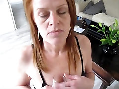 Mature redhead drinks reeal reap like champagne and swallows cum
