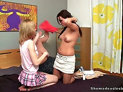 BBW teacher with huge melons is having some good time with these lesbians