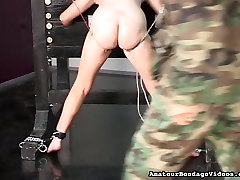 Chubby amateur slut getting her pussy lips pinned tight in 113 encoded clip