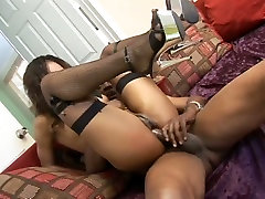 Sexy ebony babe Marie Luv fucked bad in a doggy position