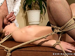 Feisty bitch with small titties is getting face fucked brutally in kinky sehef koking porn clip