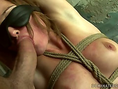 Submissive Russian hoe is ordered to give mouth fuck to hard penis in BDSM