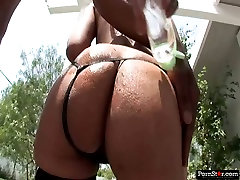 Bootyful slut Lecey Duvalle sucks big black cock deepthroat