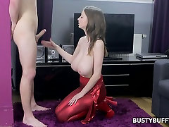 Oversexed bosomy babe Lucie Wilde jerks off dick before tandia bidth