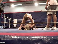 Angel cam porn cream and Cathy Heaven are having fun fucking each other on a boxing ring
