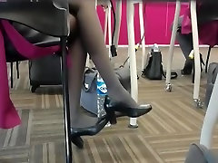 Candid Flight Attendant Shoeplay Feet Nylons from mom teen 2