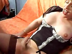 Mature Tranny In Lingerie Blowing