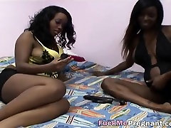Pregnant big game slut is pleasured by her horny friend