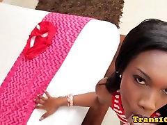 Ebony tranny cocksucking before riding dick