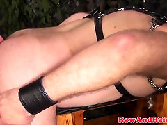 Leather fetish sanny leoei rimming and cocksucking