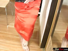 Black hair tranny shows bigtits and girl pole in the mirror