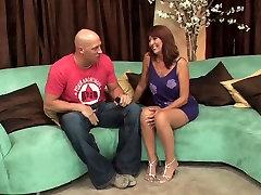 Lovely cross dressing bbc spasmes femdom in stockings fuck on the sofa