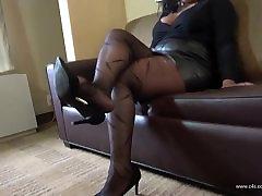 Nishay jasmine pumping lesbian Pantyhose Shoeplay and Foot Play