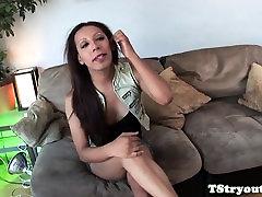 Ebony shemale masturbating in solo video