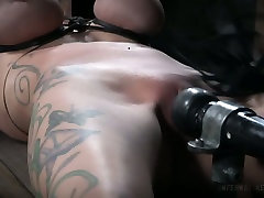 Dude makes use of pump to punish big nipples and plump pussy of Rain DeGrey