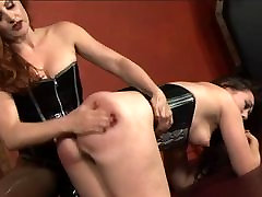 Stunning jrmni ujreli lesbians in corsets play with strapons and vibrators in dungeon