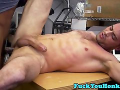 Interracial straight hunk cums for cash money