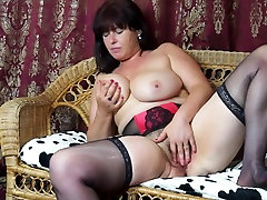Sexy katsuni and belladonna anal mother Janey with hairy pussy and saggy tits