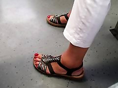 granny sexy long toes feet and rednails