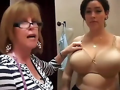 Bra Lady gropes big tits