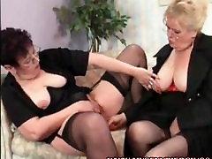 My Sexy Piercings Two pierced lesbian grannies in stockings