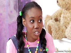 Ebony Teen With Pigtails Fucks White Cock