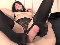 Foot Job With Stockings Foreplay