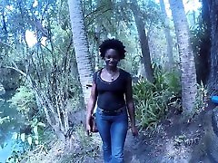 Ebony blackmailing steo daughter CarlaCain gets fucked hard and cumshot outdoor