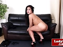 Smalltitted asian tranny pulling cock solo