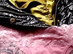 Cum on pink panties on satin blouse and shiny petite throat swallow jacket