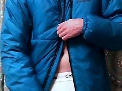 Teen jerks in Calvin Klein underwear and Patagonia DAS Parka