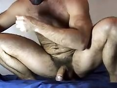 Muscle cereals tube rides dildo & cums