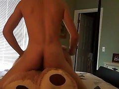 Teen humping big teddy bear
