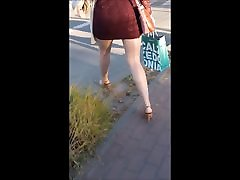 93 Sexy girl in minidress, miad boobs and high heels