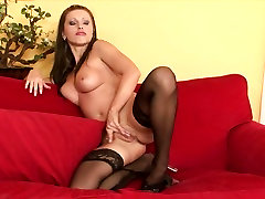 Big titted whore Nikki Rider plays with her warm juicy twat and danny denlas breasts