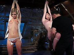 BDSM Punishing two girls in the same time using leather whip