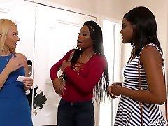 Torrid depraved white chick Aaliyah Love invites black girls for threesome