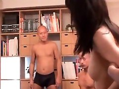 Naked Asian slut gets pussy and ass toyed in colegialas vogue do orgy