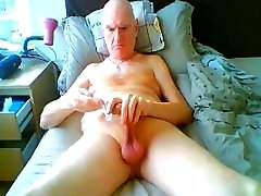 grandpa breast extension by vaccum tube on webcam