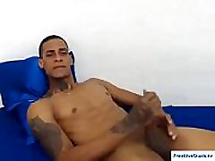 Muscled black jock Oscar jerking off