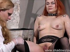 Dirty Mary lesbian pussy whipping and amateur bdsm of play piercing redhead girl in erotic domination by female do