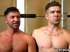 BDSM fitness sub blindfolded for cocksucking