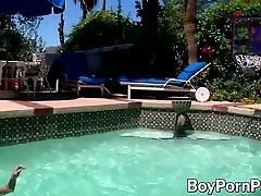 Wanking off near the pool with horny big dick twink Jacob