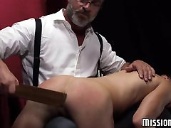Hot and real brotherand sisteey twink loves being spanked before dildo play