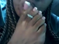 Ebony worships her long toenails
